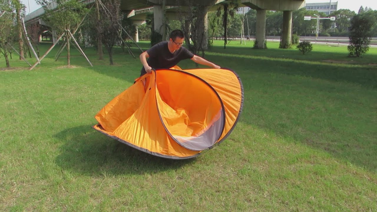 Folding Instruction Video for a 2 Person Pop Up Tent/ 2 Seconds Tent - YouTube : folding pop up beach tent - memphite.com