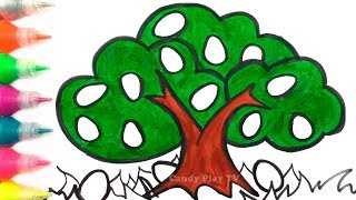 How to Draw Tree with Colored Eggs | Learn Colors for Kids | Eggs Coloring Pages for Children