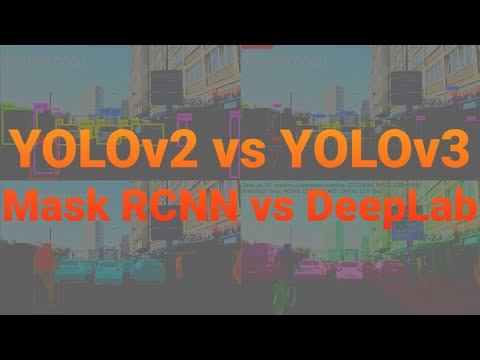 YOLOv2 vs YOLOv3 vs Mask RCNN vs Deeplab Xception - YouTube