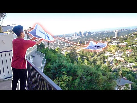 Throwing Paper Airplanes down Hollywood Hills