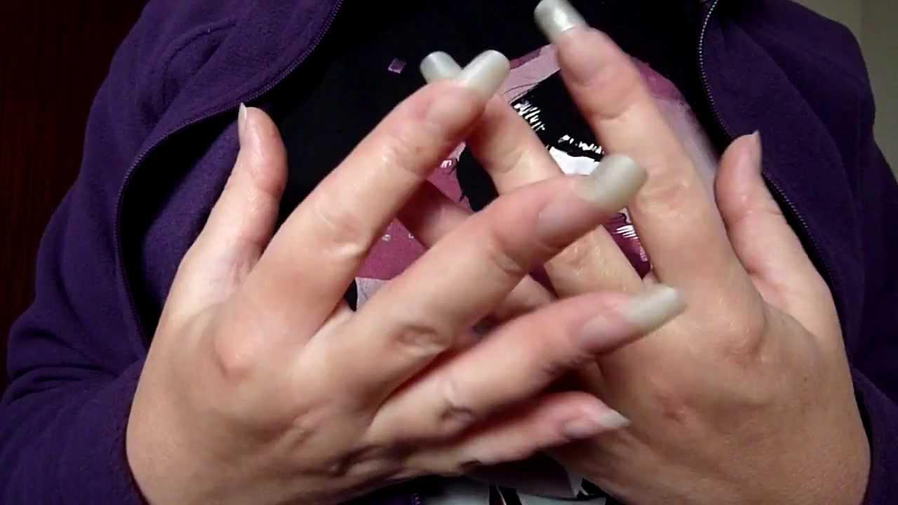 reallongnailsuk shows her clear long fingernails (video 32) - YouTube