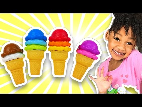 Thumbnail: Learn Colors with Colorful Ice Cream Cones for Children, Toddlers and Babies | Play Doh Colours Kids