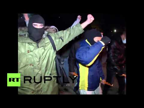 Ukraine: EU flag on fire in Crimea