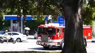 Firetrucks Los Angeles Brush Fire Griffith Park California USA 7-10-2018