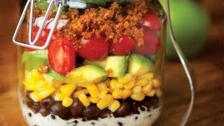 Mason Jar Taco Salad With Creamy Lime Dressing And Walnut Meat