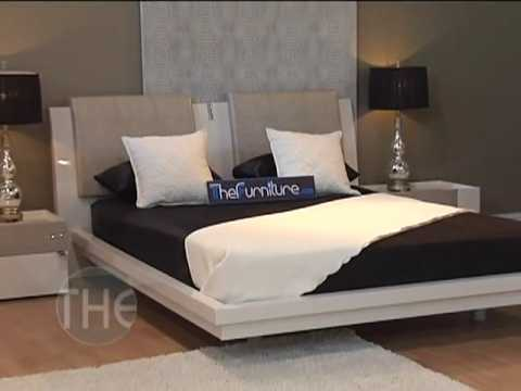 Ivory Color U0027Diamondu0027 Platform Bedroom Set With Swarovski Crystal Inlays By  Rossetto   YouTube