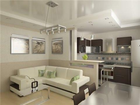 Объединение зала и кухни, проход в стене с барной стойкой