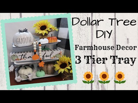 DOLLAR TREE DIY🌻3 TIER TRAY AND FARMHOUSE BEADS🌻PLUS GARDEN UPDATE!
