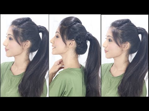 3 Simple & Cute Ponytail Hairstyles For Indian School ...