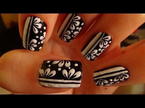 Easy Nails Art For Beginners - Vẽ Móng Đẹp Bằng Sợi Tóc - Nail Họa Tiết Trắng Đen