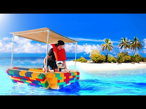 VISITING A STRANDED ISLAND WITH A LEGO BOAT..