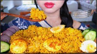 ASMR INDIAN FOOD SPICY EGG RICE BIRYANI | EATING SOUNDS | NO TALKING