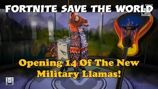 97) Fortnite Save The World - Opening 14 Of The New Military Llamas! - Will I Get Good Stuff Or Not?