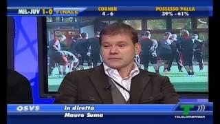 QSVS - fischio finale Milan-Juventus 1-0/sfottò di Mauro Suma (TeleLombardia)