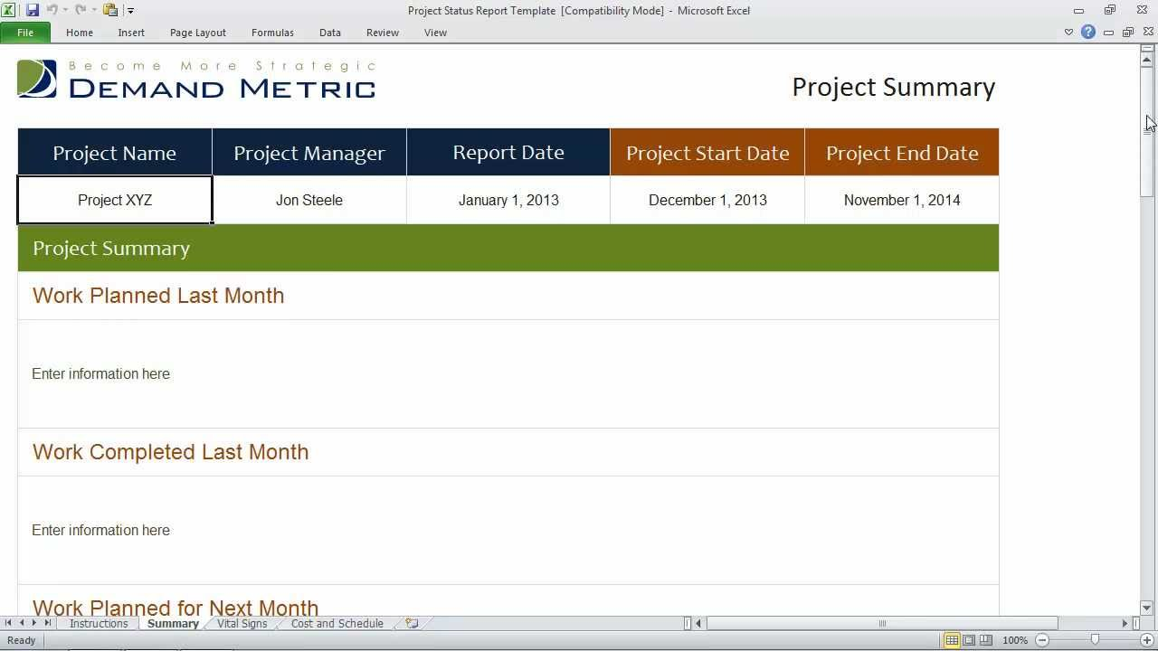 Project Status Report Template YouTube – Progress Status Report Template
