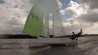Catamaran F18 sailing