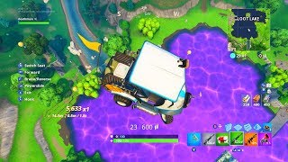 Fortnite's Mysterious Cube Created Bouncy Loot Lake! Use Golf/Shopping Cart on Bouncy Lake & Stunts!