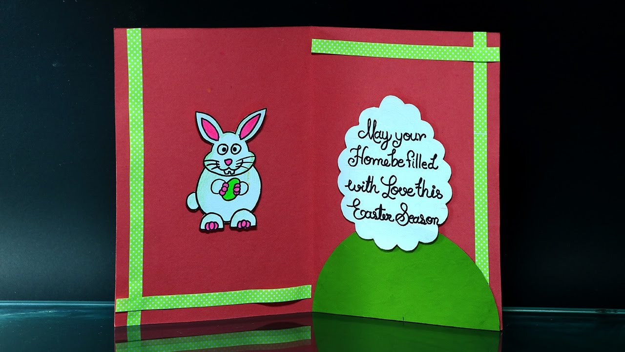 DIY Easter Cards How to Make Easter Card With Bunny and Eggs – How to Make a Easter Card