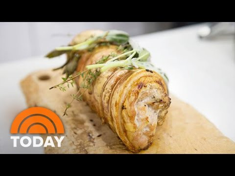 Tom Colicchio Cooks For Easter: Roasted Porchetta With Sausage And Apples  TODAY