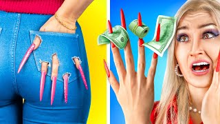 Wearing the Longest Nails for 24 Hours! / Girl Problems with Long Nails!
