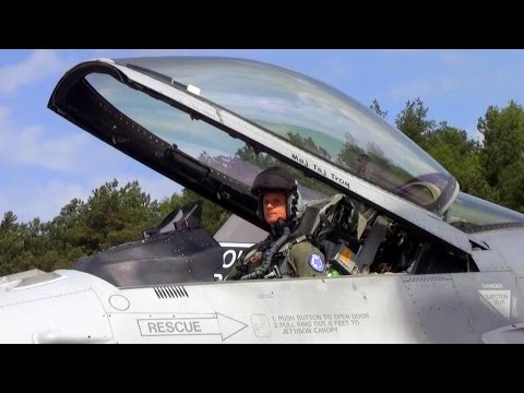 Air National Guard F-16 Fighters Preflight & Takeoff @ Łask Air Base, Poland