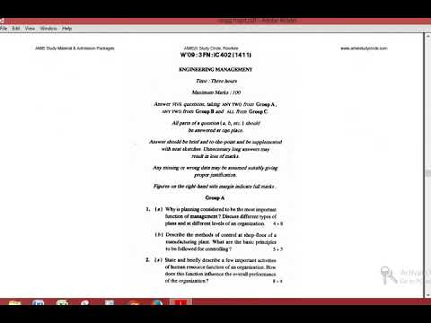 AMIE ENGINEERING MANAGEMENT | SECTION B previous year paper