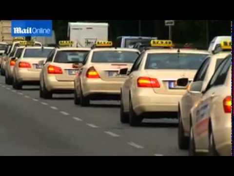 German taxi drivers cause chaos as they protest against Uber