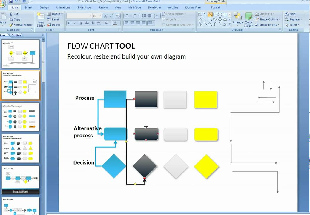 how to create a flowchart in powerpoint youtube rh youtube com Application Process Flow Diagram youtube process flow chart