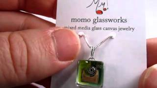 "Heartwood Gifts - Glass Charm Pendant ""green Snail"" By Momo Glassworks"