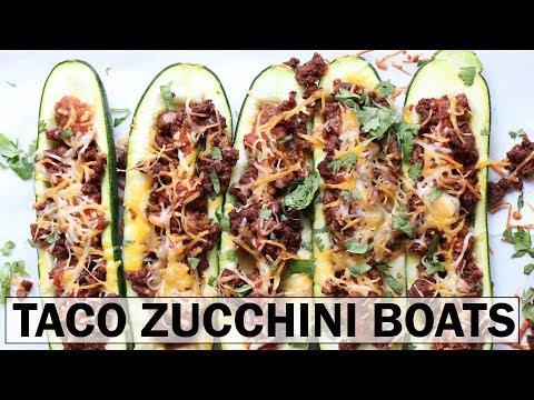 TACO STUFFED ZUCCHINI BOATS    gluten free + low carb + easy recipe