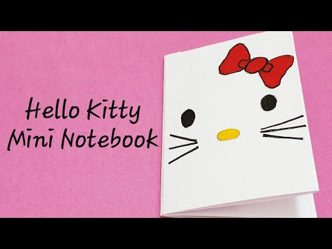 DIY Hello kitty Mini Book/Mini notebook with single A4 paper-no Glue,8 pages