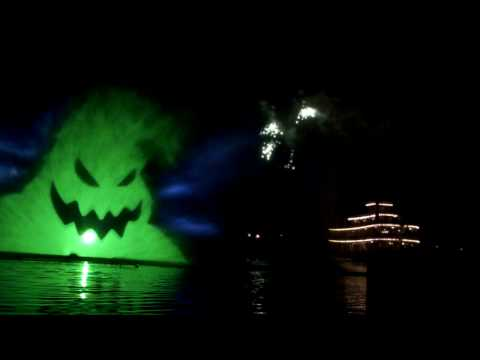 Disneyland Halloween Screams Fireworks 2009 - Rivers of America water screens.