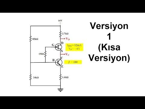 Elektronik Ders 46 (Versiyon 1 Çözüm Üzerinden Anlatım) BJT ve JFET Bir Arada DC Analiz Örnek Çözümü