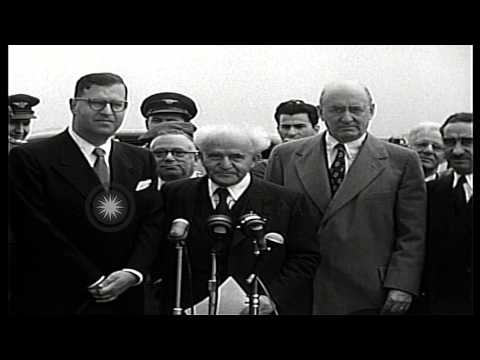 First Prime Minister of Israel David Ben-Gurion descends from a El Al airlines pl...HD Stock Footage