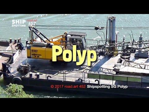 Shipspotting Rhein & Mosel | Schwimmgreifer Polyp mit Deckprahm | Floating grab dredger