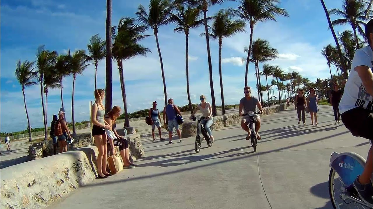 Beautiful South Beach Walking Path Bike Al With Hd Action Camera Miami Florida