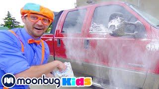 BLIPPI Visits A Carwash! | Learn | ABC 123 Moonbug Kids | Educational Videos