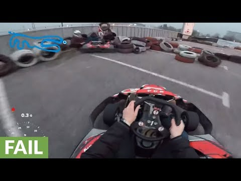 Epic fail: Go-kart driver crashes at full speed into tire barrier