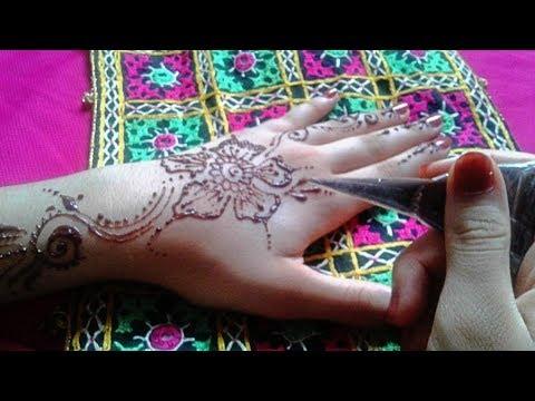Eid Henna Mehndi طريقة نقش حناء جديد رووعة طريقة عمل نقش ناعم لليدين للعيد Youtube