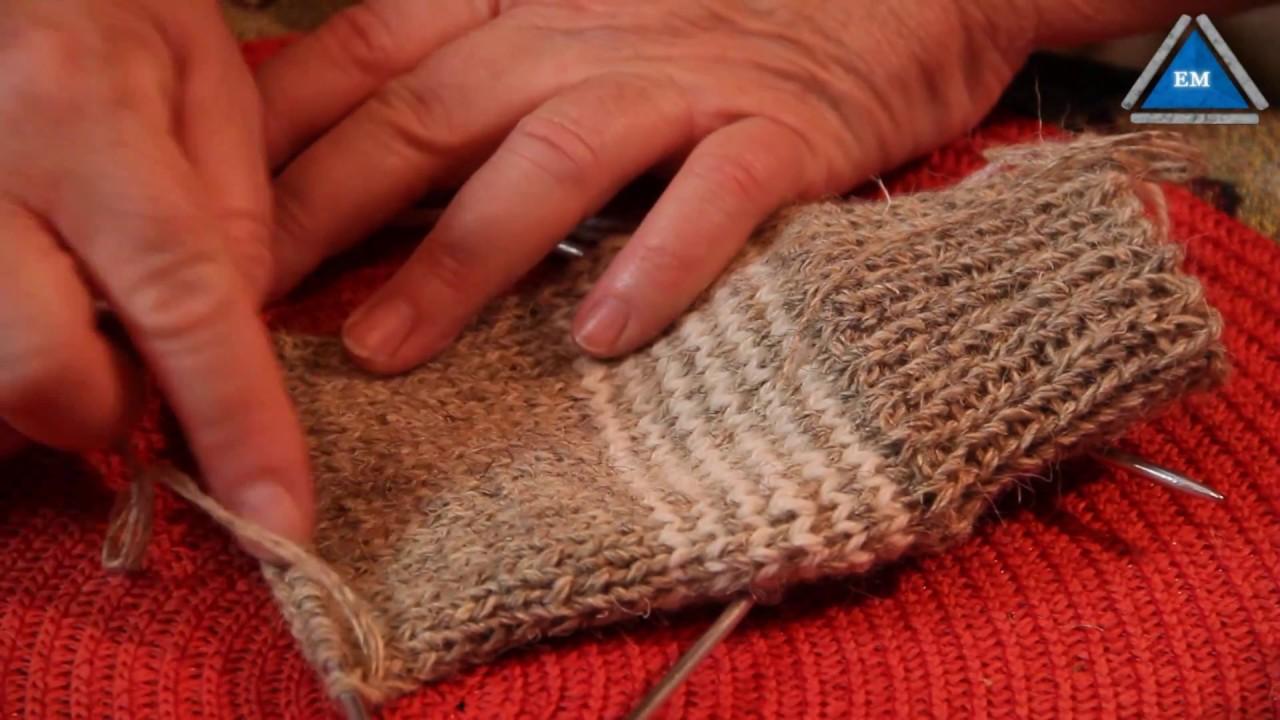 Как вязать пятку носка спицами подробно видео