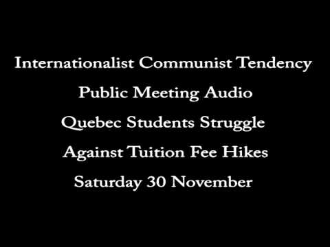 Quebec Students Struggle Against Tuition Fee Hikes, Manchester Meeting Audio
