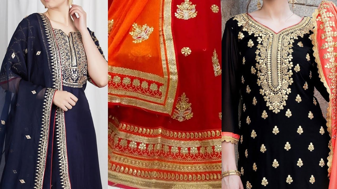 Beautiful Gota Patti Party Wear Dress Designs/Latest Gota & Zari Work