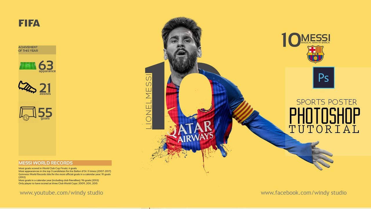 photoshop tutorial sports poster messi football templates youtube