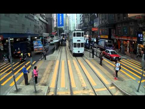 Hong Kong Tram ride front view - westbound from Happy Valley to Sheung Wan