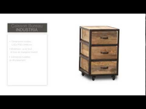 caisson bureau industriel bois massif industria youtube. Black Bedroom Furniture Sets. Home Design Ideas