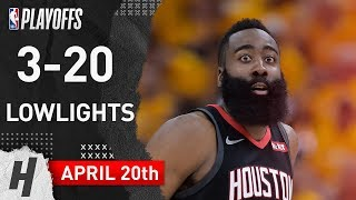 James Harden 3-20 FGM - Lowlights - Game 3  | Rockets vs Jazz | 2019 NBA Playoffs