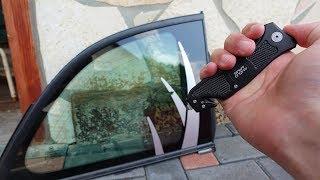 Experiment - Kann man mit einem Glasbrecher eine Autoscheibe einschlagen?