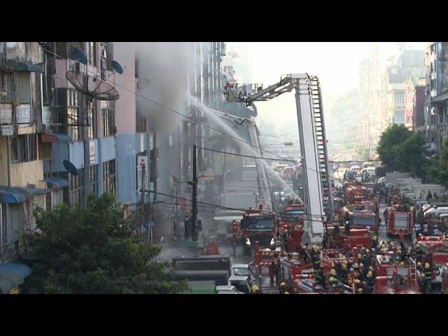 Мьянма: пожар в жилом здании в центре Янгона