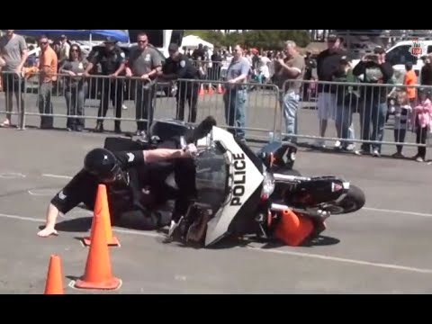 motorcycle officers crash bikes during competition