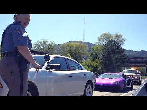 COLORADO STATE POLICE SMILE AS  PURPLE LAMBORGHINI GETS TICKET!